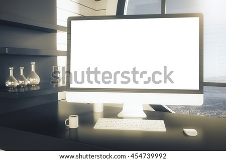 Closeup of office workplace with blank white computer monitor, coffee cup, keyboard, computer mouse, dark shelves with decorative items on window with city view background. Mock up, 3D Rendering - stock photo