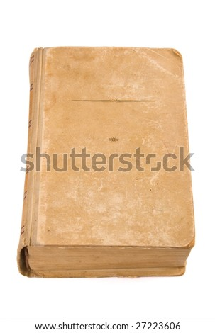 Closeup of old book on white with clipping path