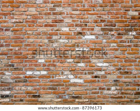 Closeup of old brick wall - stock photo