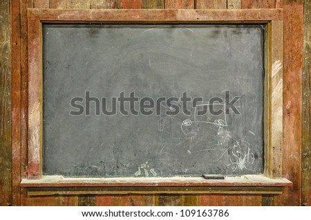 Closeup of Old Chalkboard - stock photo