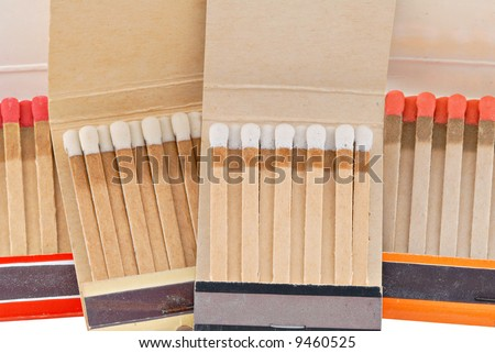 Closeup of old matchbooks. - stock photo