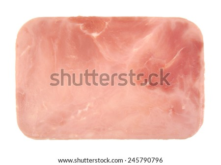 Closeup of one cooked and boiled ham sausage slice isolated on white background - stock photo