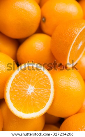 Closeup of oranges at a local market, food background - stock photo