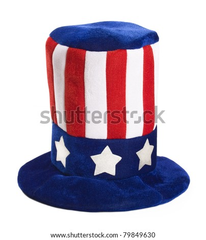 Closeup of patriot hat isolated on white background. - stock photo
