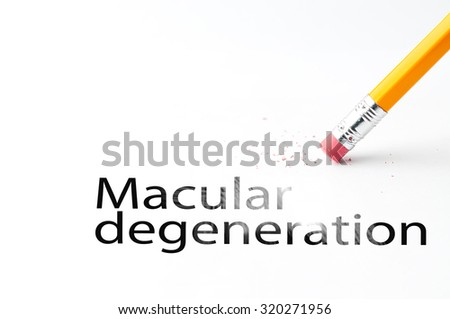 Closeup of pencil eraser and black macular degeneration text. Macular degeneration. Pencil with eraser.