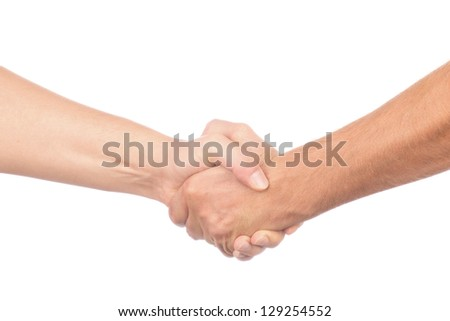 Closeup of people shaking hands isolated on white background