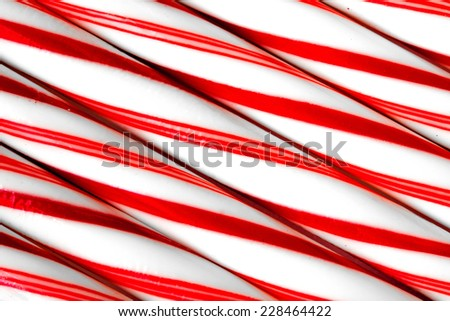 Closeup of peppermint candy canes side by side. Macro shot - stock photo
