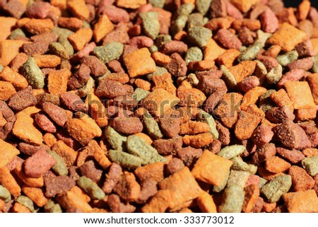 Closeup of Pet Food, Triangle,Many  shape of Cat food.