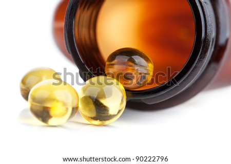 closeup of pills isolated on a white background