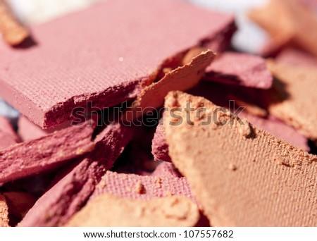 closeup of pink and orange eyeshadow - stock photo
