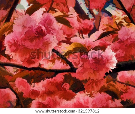 Closeup of pink cherry blossoms in Central Park, New York City - transformed into a colorful painting.                          - stock photo