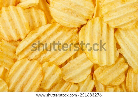 closeup of potato chips for background use, full frame - stock photo
