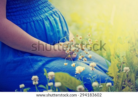 Closeup of pregnant woman, wearing blue dress, holding in hands bouquet of daisy flowers outdoors, new life concept - stock photo