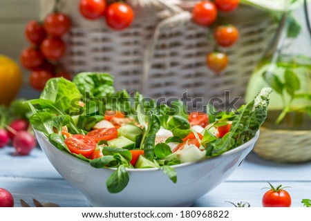 Closeup of preparing a healthy spring salad - stock photo