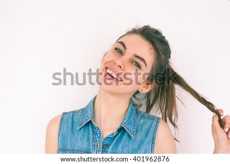 Closeup of pretty young woman smiling