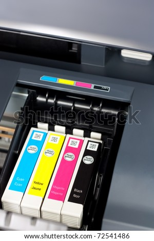 Closeup  of  printer ink cartridges for a color printer - stock photo