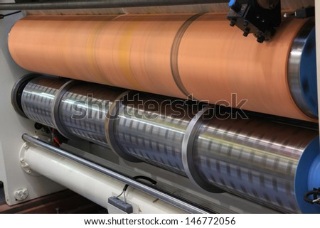 Closeup of printing machine working part with the rotation of rollers - stock photo
