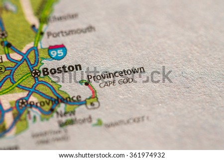 Closeup of Provincetown on a geographical map. - stock photo
