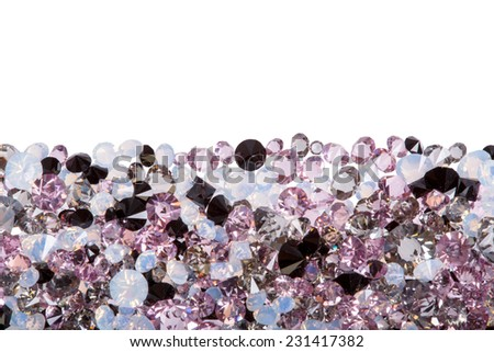 Closeup of purple diamond jewel stones luxury isolated on white - stock photo