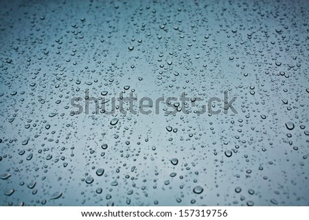 Closeup of raindrops on the window