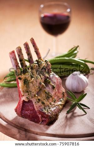 closeup of raw lamb chops - stock photo