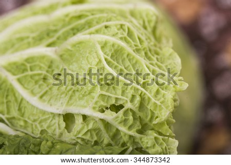 Closeup of raw ripe green colored tasty leaf of chinese cabbage organic eco vegetable ingredient for dieting salad or refreshment, horizontal picture  - stock photo
