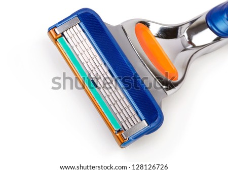 Closeup Of Razor Blade Over White Background