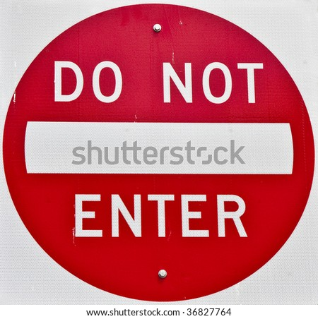 Closeup of red and white do not enter sign - stock photo