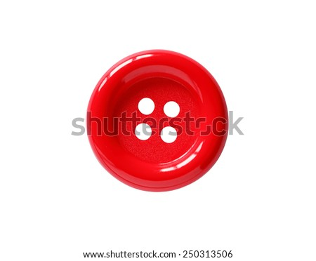 Closeup of red button on white background. Clipping path is included - stock photo