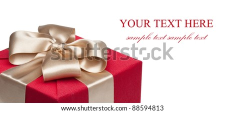 Closeup of red gift box with golden ribbon, isolated on the white background, clipping path included. - stock photo