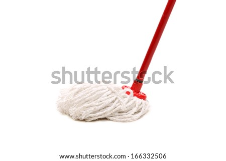 Closeup of red mop for cleaning. Isolated on a white background.