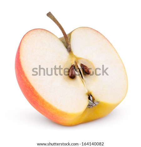 Closeup of red yellow apple half isolated on white with clipping path - stock photo
