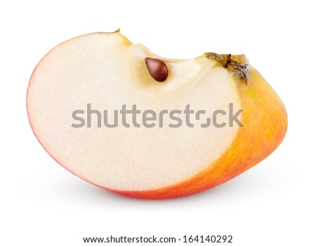 Closeup of red yellow apple slice isolated on white with clipping path - stock photo