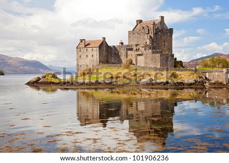 Closeup of Reflection of Eilean Donan Castle, Highland Scotland. - stock photo