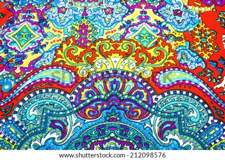 Closeup of retro tapestry fabric pattern pretty - stock photo