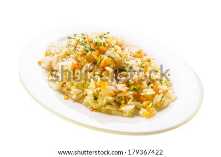 Closeup Of Rice With Vegetables - stock photo