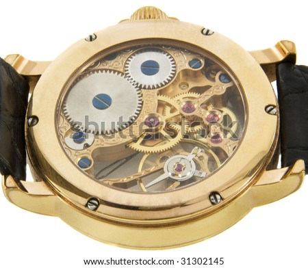 Closeup of rich gold swiss made chronograph watch - stock photo