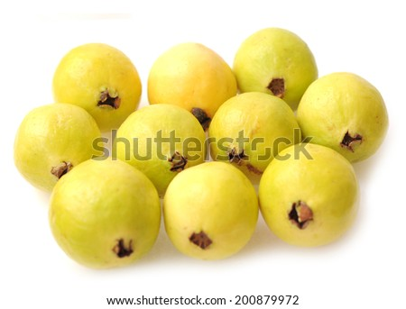 closeup of ripe guava  on white - stock photo