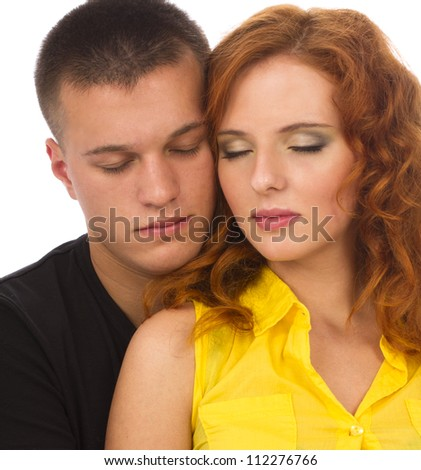Closeup of romantic couple relaxing with eyes closed - stock photo