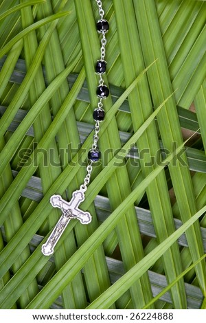 closeup of rosary and crucifix on palm leaves - palm sunday