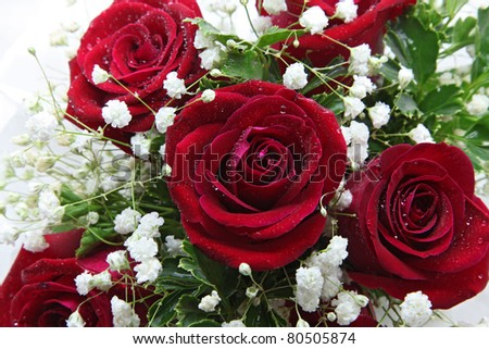 closeup of rose bouquet using in wedding or any greeting ceremony - stock photo