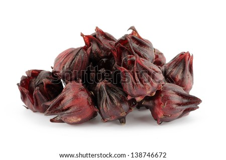 Closeup of roselle flowers in isolated white background - stock photo