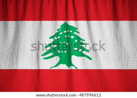 Closeup of Ruffled Lebanon Flag, Lebanon Flag Blowing in Wind