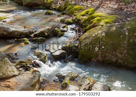 Closeup of rushing water in a rocky stream.