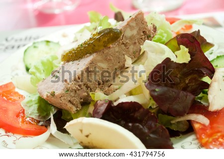 closeup of salad in a restaurant