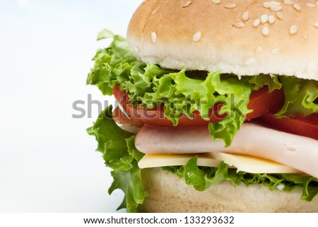 Closeup of sandwich on plate