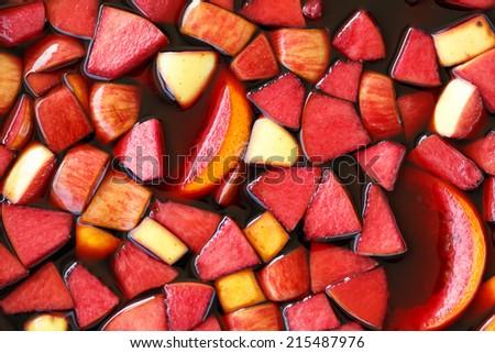 closeup of sangria fruits  - stock photo