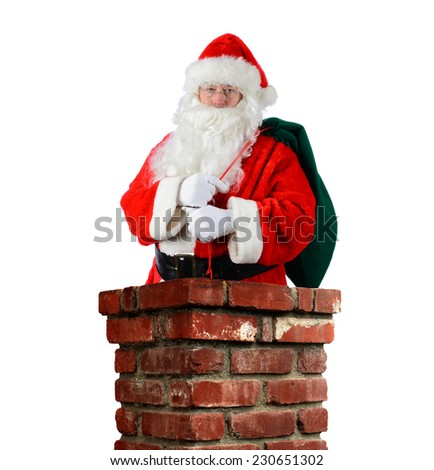 Closeup of Santa Claus inside a brick chimney with his bag of toys flung over his shoulder. Vertical format on a white background.