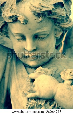 Closeup of sculpture in the Punta Arenas Cemetery - stock photo
