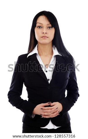 Closeup of serious businesswoman looking at camera, holding her fingers joined. Isolated on white background - stock photo